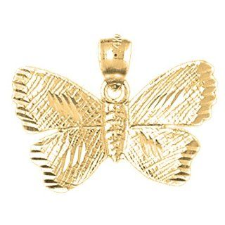 Gold Plated 925 Sterling Silver Butterflies Pendant Jewelry
