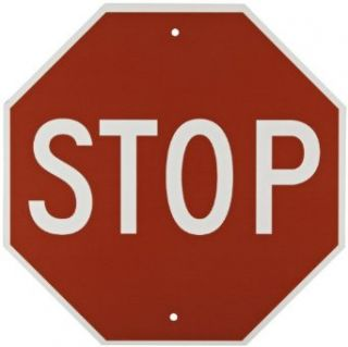 "Brady 113280 18"" Width x 18"" Height B 959 Reflective Aluminum, White on Red Stop Sign, ""Stop"" Industrial Warning Signs"