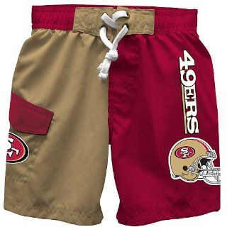 NFL San Francisco 49ers Boy's Licensed Swim Trunk, Red, 6  Sports Fan Shorts  Clothing