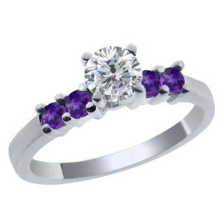 0.74 Ct Round G/H Diamond Purple Amethyst 925 Sterling Silver Engagement Ring Jewelry
