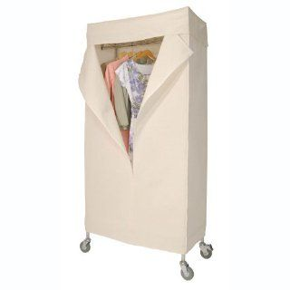 Richards Homewares Commercial Grade 36 Inch Rolling Garment Rack with Canvas Cover Chrome   Free Standing Garment Racks
