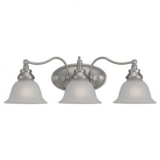 Sea Gull Lighting 44652 962 3 Light Wall and Bath Fixture, Satin Etched Glass Shades and Brushed Nickel   Vanity Lighting Fixtures