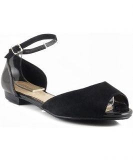 Breckelle Becky 41 Two Tone Peep Toe Ankle Strap Flat Sandal Shoes BLACK (11, Black) Shoes