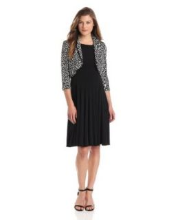 Jessica Howard Women's 3/4 Sleeve Bolero Jacket Dress, Black/Ivory, 10