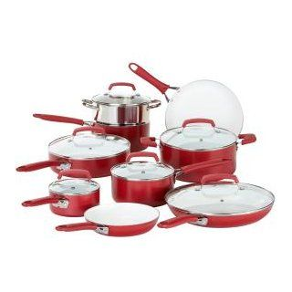 WearEver C943SF63 Pure Living Nonstick Scratch Resistant Durable Ceramic Coating Healthy PTFE PFOA Cadmium Free Dishwasher Safe Oven Safe Cookware Set, 15 Piece, Red Kitchen & Dining