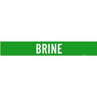 "Brady 7036 1Hv Self Sticking Vinyl Pipe Marker, B 946, 4"" Height X 24"" Width, White On Green Pressure Sensitive Vinyl, Legend ""Brine"" Industrial Pipe Markers"