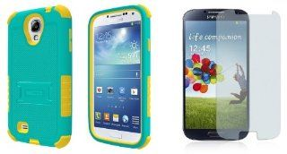 Samsung Galaxy S4   Premium Accessory Kit   Turquoise / Yellow Heavy Duty Hybrid Armor Kick Stand Case + Atom LED Keychain Light + Screen Protector Cell Phones & Accessories