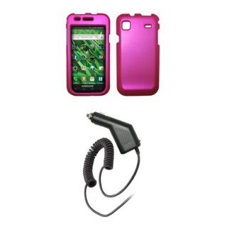 Samsung Vibrant T959   Purple Rubberized Snap On Cover Hard Case Cell Phone Protector + Rapid Car Charger for Samsung Vibrant T959 Cell Phones & Accessories