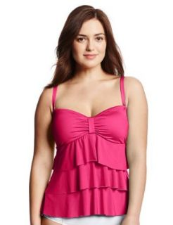 Kenneth Cole Reaction Women's Plus Size Ruffle Licious Tiered Tankini Top