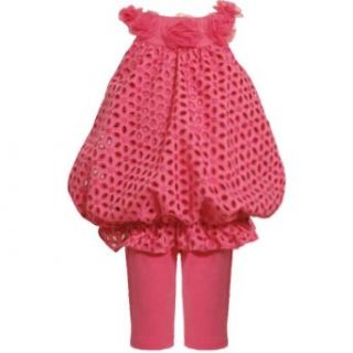 Size 2T BNJ 9723R 2 Piece FUCHSIA PINK EMBROIDERED FLORAL EYELET BUBBLE Special Occasion Flower Girl Easter Party Dress/Legging Set,R29723 Bonnie Jean TODDLERS Clothing