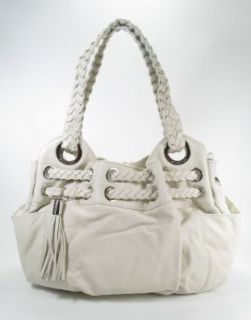MICHAEL Michael Kors Braided Grommet Large Satchel (Vanilla) Handbags Shoes