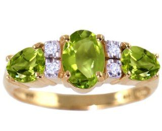 14K Yellow Gold Oval and Pear Gemstone Ring With Diamonds Peridot, size6.5 diViene Jewelry