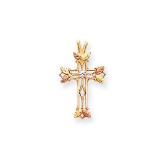10k Black Hills Gold Diamond Cross Pendant Jewelry