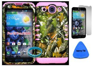 LG Optimus G Pro E980 Camo Mossy Hunter Series Green Leaves Plastic Snap on + Baby Pink Silicone Kickstand Cover Case (Screen Protector, Pry Tool & Wireless Fones TM Wristband Included) Cell Phones & Accessories