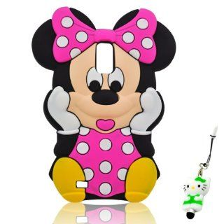 I Need(TM) Lovely Cartoon Minnie Mouse Style Hot Pink Soft Silicone Cover Case Compatible For T Mobile Samsung Galaxy S II/SGH T989 With 3D Kitty Stylus Pen Best Gift Cell Phones & Accessories