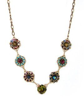 Clara Beau Gold Plated Filigree Art Deco Daisy Flowers and Khaki Green Colored Swarovski Crystal Necklace Clara Beau Jewelry
