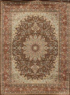 Black Traditional Isfahan Wool Persian Area Rugs 5'2 x 7'3   Machine Made Rugs