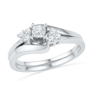 CT. T.W. Diamond Three Stone Slant Bridal Set in 10K White Gold
