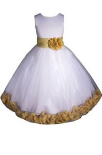 AMJ Dresses Inc Girls White/gold Flower Girl Easter Dress From Baby to 12 Clothing