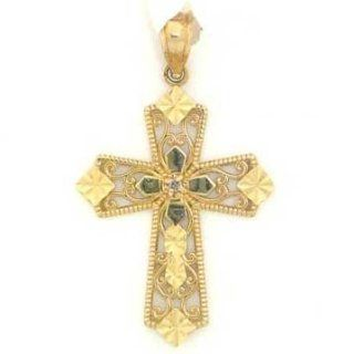 14k Solid Yellow Gold Real Diamond Cross Pendant Charm Jewelry