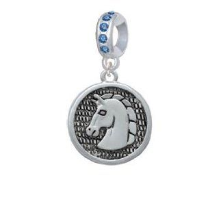 Large Classic Horse Head in Disc Sapphire Crystal Charm Bead Dangle Jewelry
