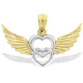 Winged Double Heart Necklace Charm in 10K Two Tone Gold   Zales