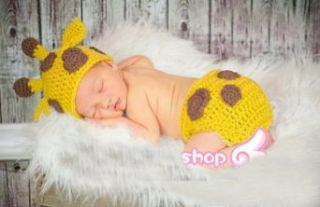 Baby Boy Girl Toddler Crochet Giraffe Hat and Diaper Cover Set Party Shower Costume Beanie Photography Clothing