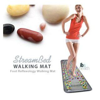 The StreamBed Foot Reflexology Walking Mat has an abundance of various sized stimulation points for massaging the soles of your feet. It features soft plastic mat with a pleasing, colorful look. A life sized foot reflexology diagram with stimulation points