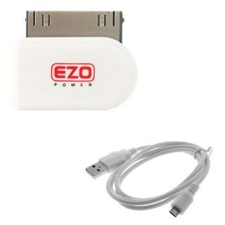 EZOPower White 30 Pin Dock Connector to Micro USB Adapter (Apple Certified) + 3 Feet Micro USB Sync & Charge Cable for Apple iPhone 4 4G 4S 4GS 3G 3GS, iPod Touch Nano Video Classic Electronics