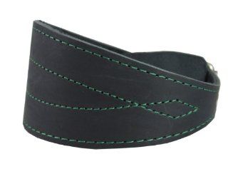 "Black Real Leather Tapered Extra Wide Greyhound Whippet Dog Collar 2.75"" Wide, Fits 12"" 16"" Neck, Medium  Pet Collars"