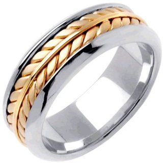 18K Two Tone Gold Women's Braided Fern Style Wedding Band (8mm) Jewelry