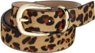 AK Anne Klein Women's 1 Inch Haircalf Panel Belt With Double Metal Loop, Beige, Small