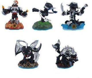 SKYLANDERS SWAP FORCE DARK EDITION 5 FIGURE CHARACTER LOT • Blast Zone, Wash Buckler, Spyro, Slobber Tooth, Stealth Elf, Also includes Stickers, Web codes, Trading Cards     NOT MACHINE SPECIFIC     PLEASE NOTE          GAME NOT INCLUDED FIGURES ON