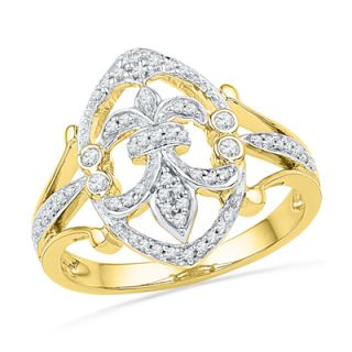 CT. T.W. Diamond Fleur de Lis Ring in Sterling Silver and 14K Gold