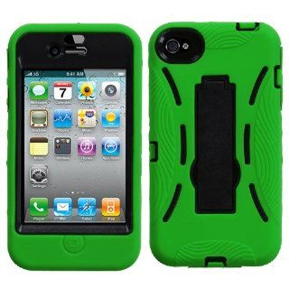 Green & Black Kickstand Heavy Duty Hybrid Apple iPhone 4 4S Cover Rubber Skin Case Hybrid Hard Cover Protector Case fits Sprint, Verizon, AT&T Wireless Cell Phones & Accessories