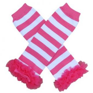 Chiffon Hot Pink Stripe   Tutu Chiffon Ruffle Leg Warmers   for Infant, Baby, Toddler, Girls Clothing