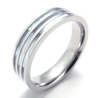 Pr820260 R&d Stainless Steel Ring Mens Lady's Natural Shell Shiny Us Size 8