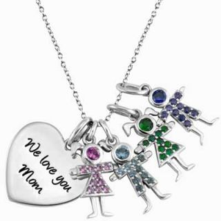 Sterling Silver Heart Pendant with Four Birthstone Children by