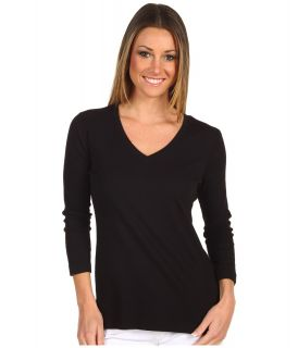 Red Dot Cotton Knit 3/4 Sleeve Deep V Neck Top Womens T Shirt (Black)