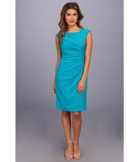Calvin Klein Cap Sleeve Side Ruched Lux Dress Womens Dress (Blue)