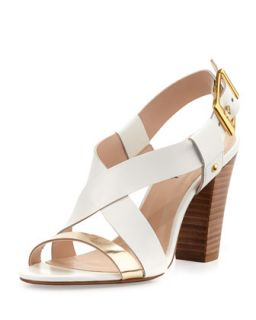 Victoria Two Tone Cross Front Chunky Sandal, White/Gold