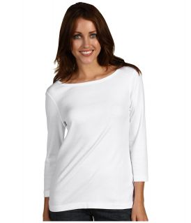 Red Dot Cotton Knits 3/4 Sleeve British Tee Womens T Shirt (White)