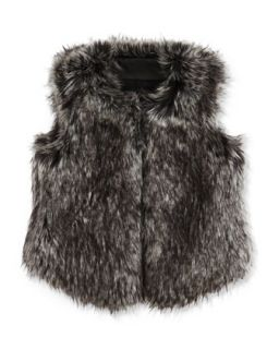 Girls Faux Fur Vest, Black, 4 6X   Vince