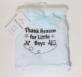 Little Beginnings Blue Thank Heaven for Little Boys Plush Baby Blanket  Nursery Bed Blankets  Baby