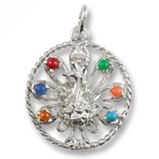 Peacock Charm In Sterling Silver, Charms for Bracelets and Necklaces Clasp Style Charms Jewelry