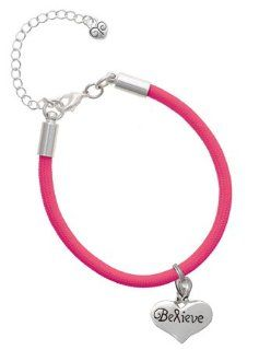 Large Believe with Ribbon Heart Charm on a Hot Pink Malibu Charm Bracelet Jewelry