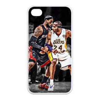 The Battle Between Super Stars Kobe Bryant VS LeBron James For Iphone4/4s Black or White Leather Rubber Cover Case Creative New Life Cell Phones & Accessories