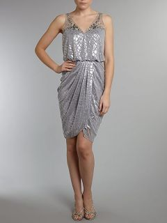 Adrianna Papell Foil print grecian dress Silver
