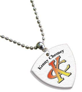 Kenny Chesney Chain / Necklace Bass Guitar Pick Both Sides Printed Jewelry