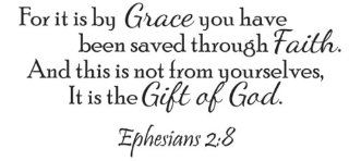 It Is By Grace Vinyl Wall Quote Decal Ephesians 28 God Word Scripture   Wall Decor Stickers